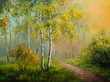 oil painting on canvas - birch forest, abstract drawing