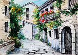 Fototapety Oil Painting, watercolor  - flowers along the street