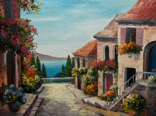 oil painting on canvas - house near the sea