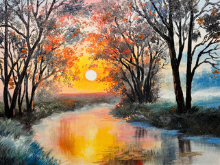 oil painting on canvas - the river