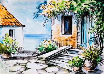 Oil Painting, watercolor  - flowers near the house, Greek street