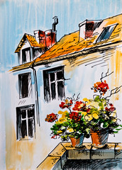 Oil Painting, watercolor - flowers on the windowsill, Greek stre