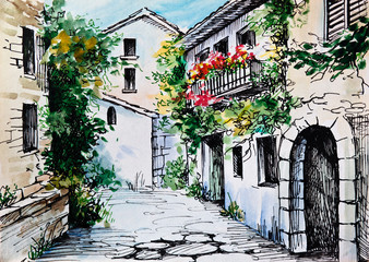 Oil Painting, watercolor  - flowers along the street