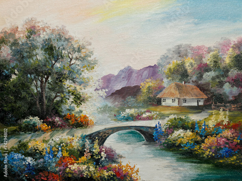 oil painting on canvas - Ukraine house in the forest - 74294802