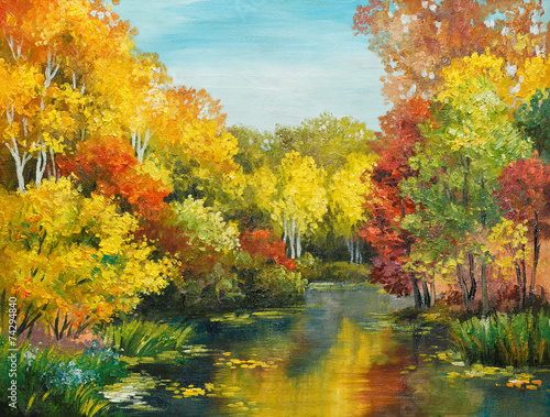 Fototapeta oil painting on canvas - colorfull autumn forest