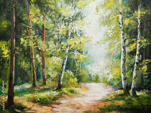 oil painting on canvas - summer forest