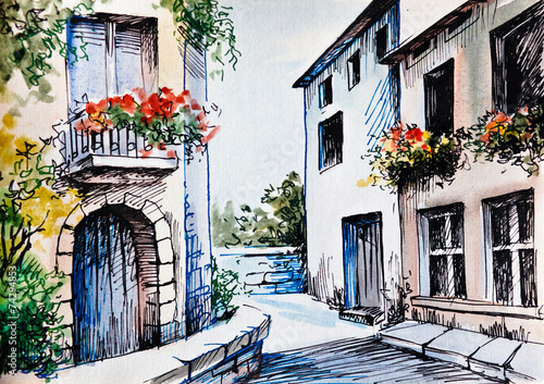 Oil Painting, watercolor  - flowers along the street - 74294853