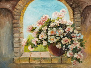 oil painting - bouquet of flowers on a stone sill , abstract dra