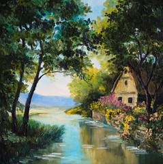 oil painting on canvas - house near the river