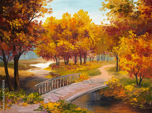 Obraz na Plexi Oil Painting - autumn forest with a river and bridge over the ri