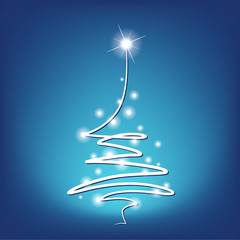 christmas tree - holiday decoration on blue background