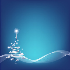 christmas tree on blue background - vector illustration