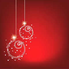 christmas balls - holiday decoration on red background