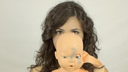 Vintage girl doll scary CU LT