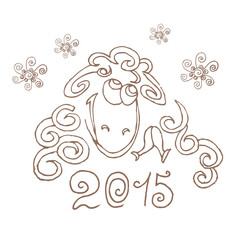 Happy new year 2015. Sheep. Hand-drawing.