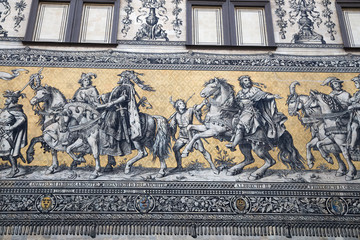 Furstenzug -- mural decorates the wall. Dresden, Germany