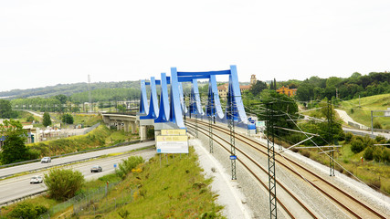 Puente ferroviario azul, Barcelona