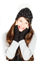 Girl in winter hat and scarf.