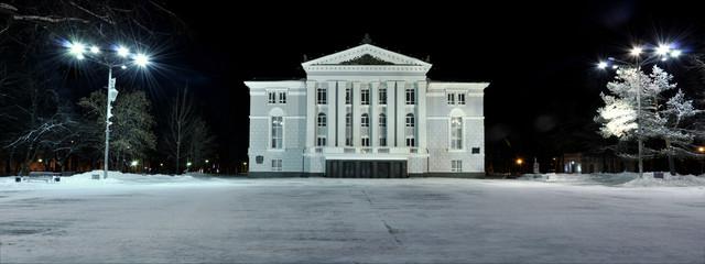 Пермский академический театр оперы и балета ночью панорама