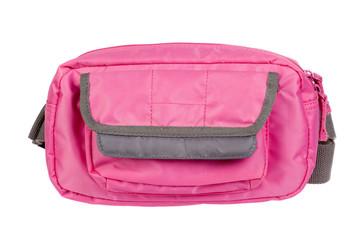 small pink handbag, isolated on white