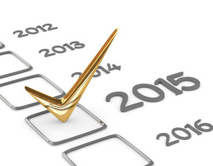 New year 2015 checklist with gold check isolated on white