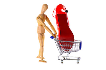 Wooden Doll buys shoes in a shopping cart