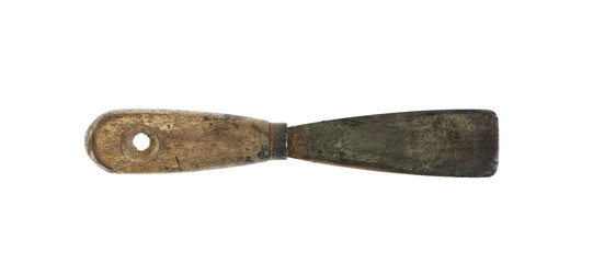 Old dirty and rusty putty knife.