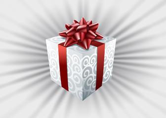 Caja, regalos, lazo rojo, fondo gris