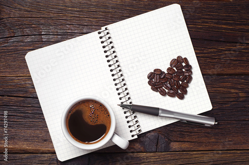 Foto op Canvas Koffie Coffee cup and notepad