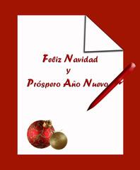 Felicitación, Navidad, fondo blanco, bolas, bolígrafo