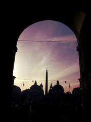 Tramonto a piazza del Popolo a Roma
