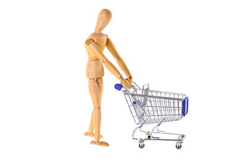 Wooden doll with shopping cart