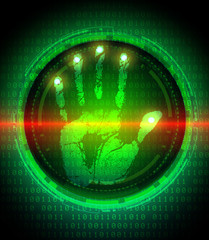 handprint and data protection on digital screen