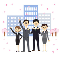 A group of newbie employees with buildings and cherry blossoms