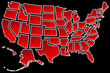 US Map 50 United States borders