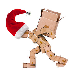 Christmas character carrying a large box isolated