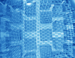 Abstract geometric shape from glass cubes