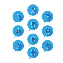 Numbers set blue. Vector illustration.