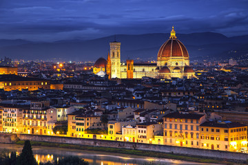 Florence or Firenze, Duomo Cathedral landmark. Sunset view from