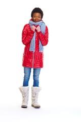 Beautiful african girl in winter coat