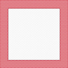 Frame, red, white gingham check, square polka dot copy space