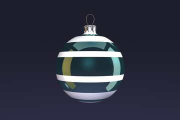 Turquoise Striped Christmas Bulb