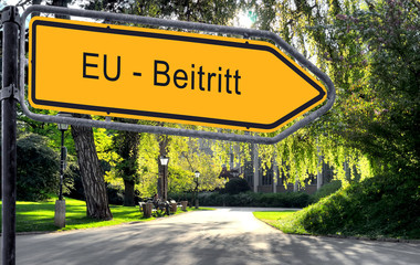 Strassenschild 25 - EU-Beitritt
