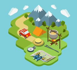 Camping travel outdoor active vacation flat 3d isometric concept