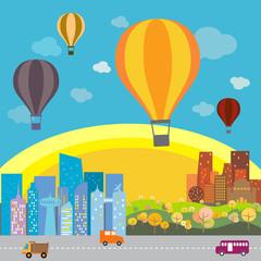 Hot air balloon over the town