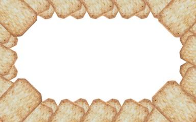 frame made of cracker isolated on white background