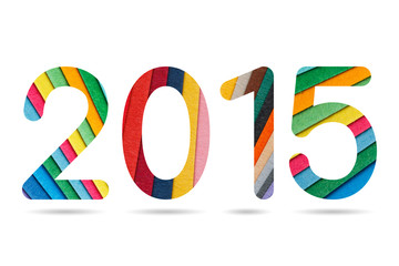 2015 numeric from colorful paper arrangement