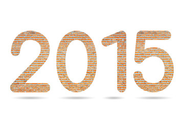 2015 numeric from Thai Red brick wall background