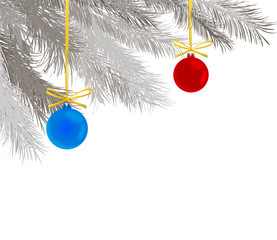 pine branches and Christmas balls