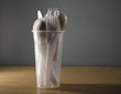 Leinwanddruck Bild - Plastikbesteck